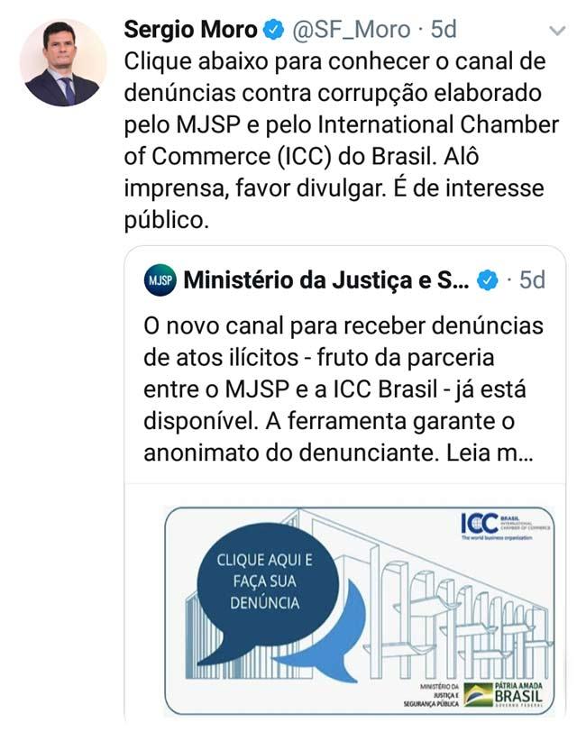Canal para denúncias de corrupção